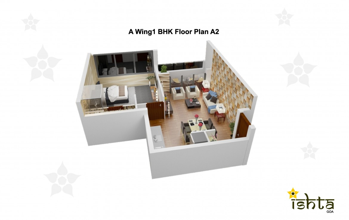 1BHK Floor Plan of Ishta Goa Dabolim